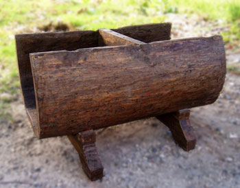 Antique Table With Gl On Top Wooden Boat Size 80 X 40 50 Cm